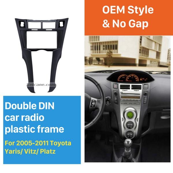 Black 2Din 2005-2011 Toyota Yaris Vitz Platz Car Radio Fascia Stereo Dash Trim Installation Fitting Frame