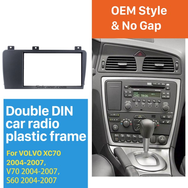 Elegant Double Din Car Radio Fascia for 2004 2005 2006 2007 Volvo XC70 V70 S60 Trim Surround CD Dashboard Panel Audio Frame