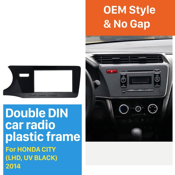 Top Quality Double Din 2014 Honda City LHD Car Radio Fascia Refitting Kits DVD panel Auto Stereo frame
