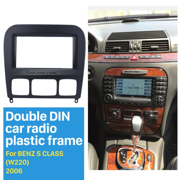 Black Double Din 2006 Mercedes BENZ S CLASS W220 Car Radio Fascia Trim Panel Installation Kit DVD Frame Stereo Player