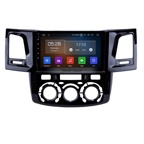 Android 10.0 9 inch GPS Navigation Radio for 2008-2014 Toyota Fortuner/Hilux Manual A/C LHD with HD Touchscreen Carplay Bluetooth USB support TPMS DVR
