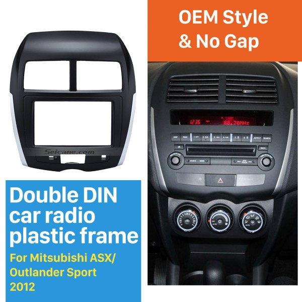 High Quality Double Din 2012 Mitsubishi ASX Outlander Sport Car Radio Fascia Audio Cover Panel Kit DVD Player Plate Frame
