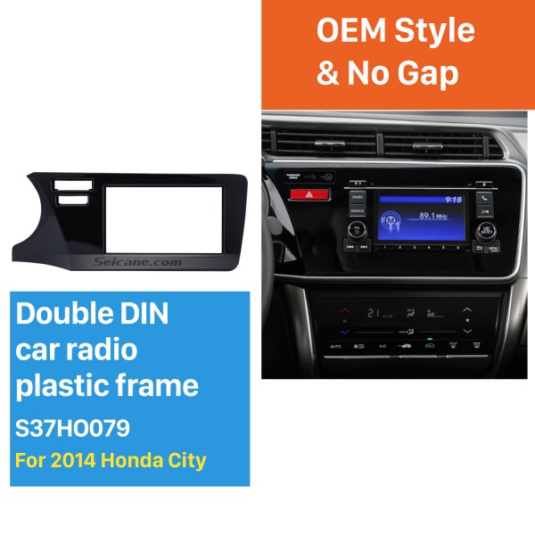 Top Quality Double Din 2014 Honda City LHD Car Radio Fascia Refitting Kits DVD Frame panel Auto Stereo WITH SRS HOLE