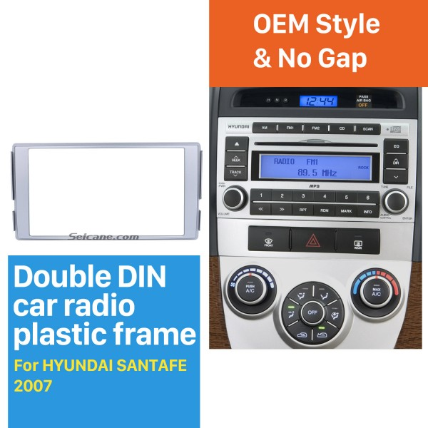 173*98mm Double Din 2007 HYUNDAI SANTAFE Car Radio Fascia In Dash Mount Kit CD Trim Panel DVD Frame