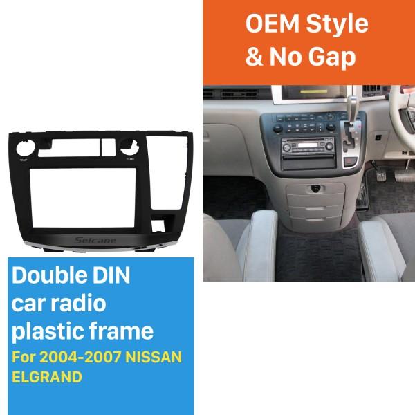 Double Din Car Radio Frame Plastic Fascia Dash Panel for 2004-2007 NISSAN ELGRAND Install Dash Bezel Cover Trim Kit No gap