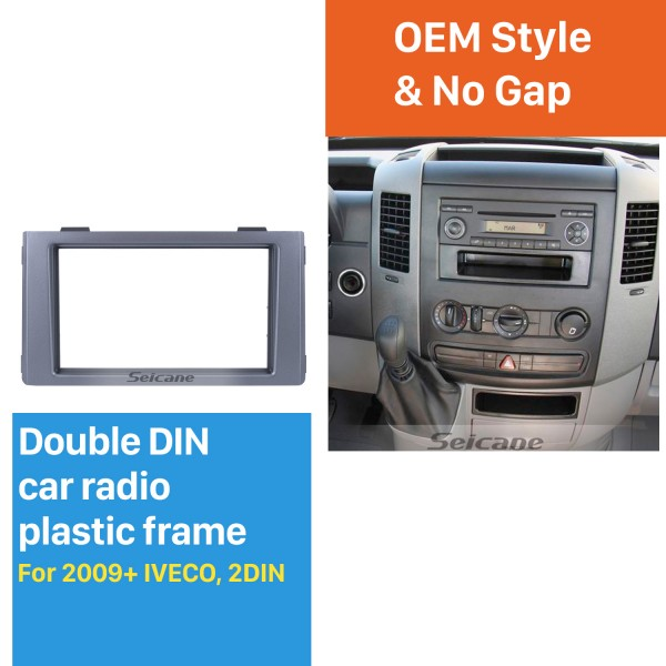 Silver Double Din Car Radio Fascia for 2009+ IVECO Dash CD Stereo Player Fitting Adaptor Frame Panel