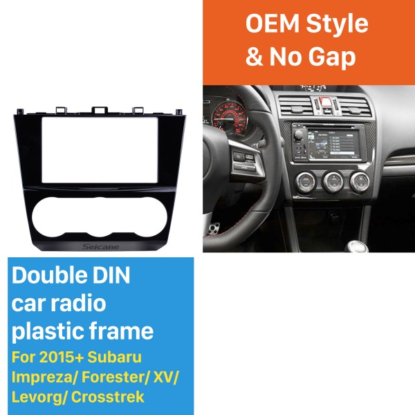 UV Black 2Din Car Radio Fascia for 2015+ Subaru Impreza Forester XV Levorg Crosstrek Dash Trim Audio Player Installation Frame Kit