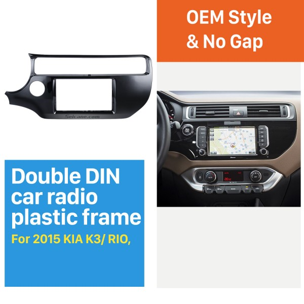 UV Black Double Din 2015 KIA K3 RIO Left Hand Drive Car Radio Fascia Stereo Interface Panel Kit DVD Frame