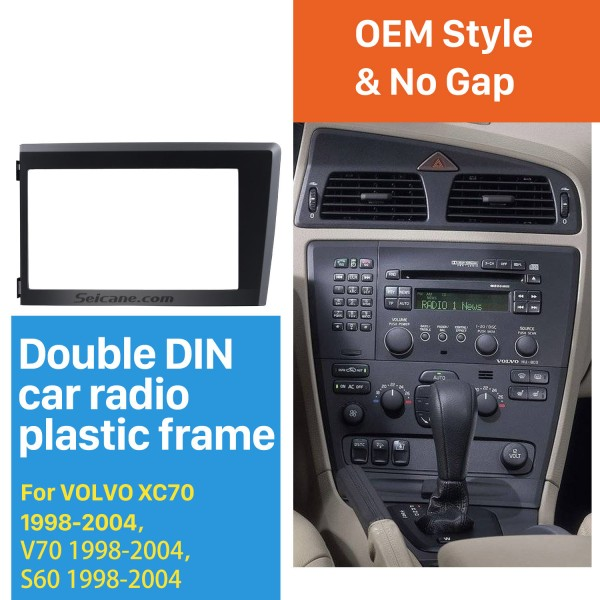 2 Din Car Radio Fascia for 1998 1999 2000 2001 2002 2003 2004 Volvo XC70 V70 S60 Stereo Plate Trim Kit Frame Panel Dash CD