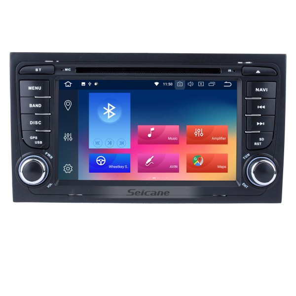 HD 1024*600 Multi-touch Screen Android 9.0 DVD Navigation Head Unit for  2003-2011 Audi A4 S4 RS4 with Radio Tuner 4G WiFi Bluetooth Music Mirror Link OBD2 AUX DVR