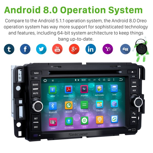2007-2011 Chevrolet Chevy Suburban Android 8.0 GPS Navigation System for with Radio DVD Player Bluetooth Touch Screen DVR WIFI TV Steering Wheel Control