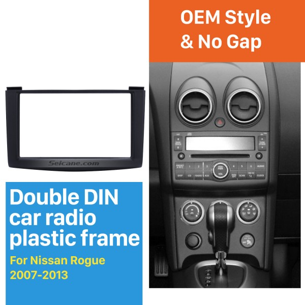 173*98mm Black Double Din 2007-2013 Nissan Rogue Car Radio Fascia Stereo Dash CD Trim Installation Kit Frame Surround Panel