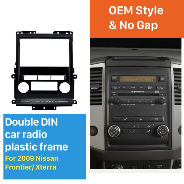Black 2Din 2009 Nissan Frontier Xterra Car Radio Fascia Audio Fitting Adaptor Frame Panel Installation