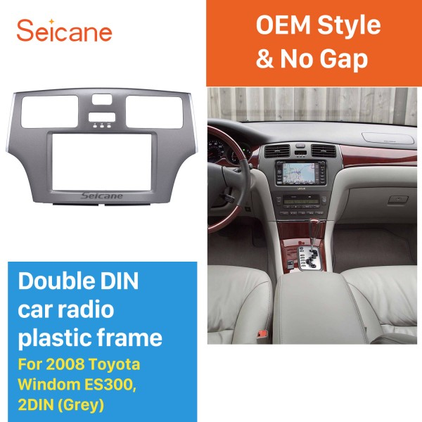 Grey Double Din 2008 Toyota Windom ES300 Car Radio Fascia Stereo Dash Kit Surround Panel DVD Frame
