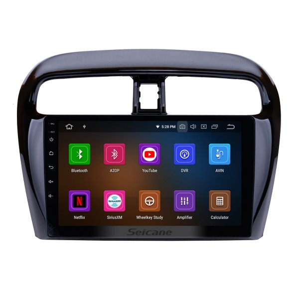 2012-2018 Mitsubishi Mirage 9 inch Android 9.0 GPS Navigation Full Touch Screen WiFi FM Radio USB Carplay Bluetooth SWC OBD2 Backup Camera DVR DAB