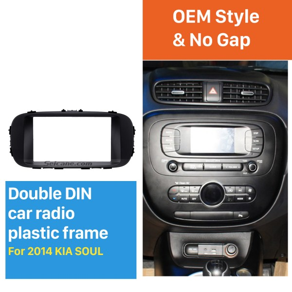 Black Double Din 2014 KIA SOUL Car Radio Fascia Dash Mount Kit Adapter CD Trim Panel Plate Frame