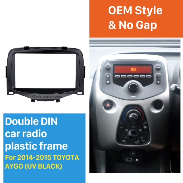 Black Double Din 2014 2015 Toyota Aygo Car Radio Fascia Panel Adaptor Audio Frame Stereo Install