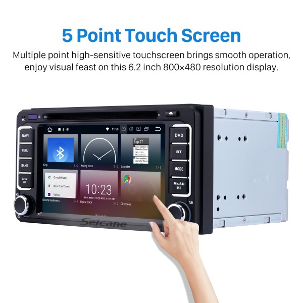 Pure Android 9.0 2 Din Car Stereo GPS System for 2003-2010 TOYOTA VIOS with Radio RDS DVD Bluetooth WiFi 4G AUX Backup Camera 1080P Mirror Link OBD2 DVR