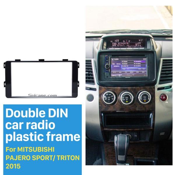 Fantastic Double Din 2015 Mitsubishi Pajero Sport Triton Car Radio Fascia Trim Dash CD Installation Kit Frame Panel