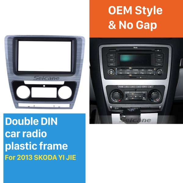 Wire Drawing 2Din Car Radio Fascia for 2013 SKODA YI JIE Audio Fitting Panel Adaptor Face Plate DVD Player Frame