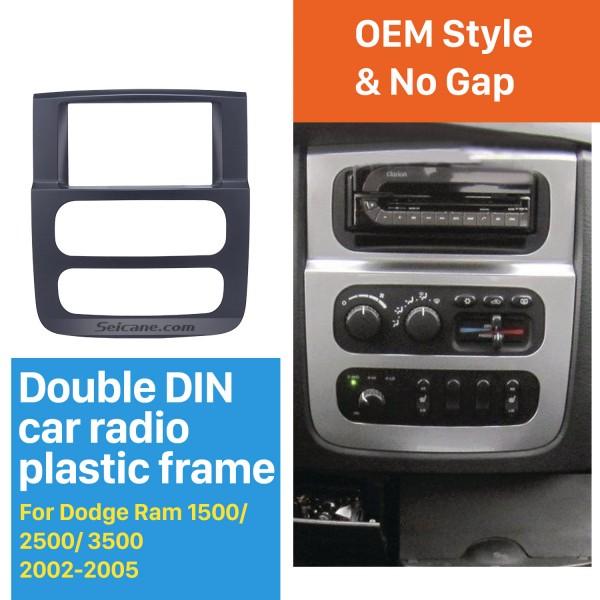 Black 2Din Car Radio Fascia for 2002 2003-2005 Dodge Ram 1500 2500 3500 Stereo Dash CD Surround Panel Audio Fitting Frame Adaptor