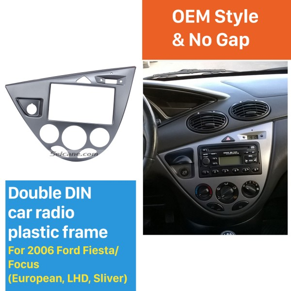 Silver Double Din Car Radio Fascia for 2006 Ford Fiesta Focus European LHD Audio Frame DVD Player Dash Mount