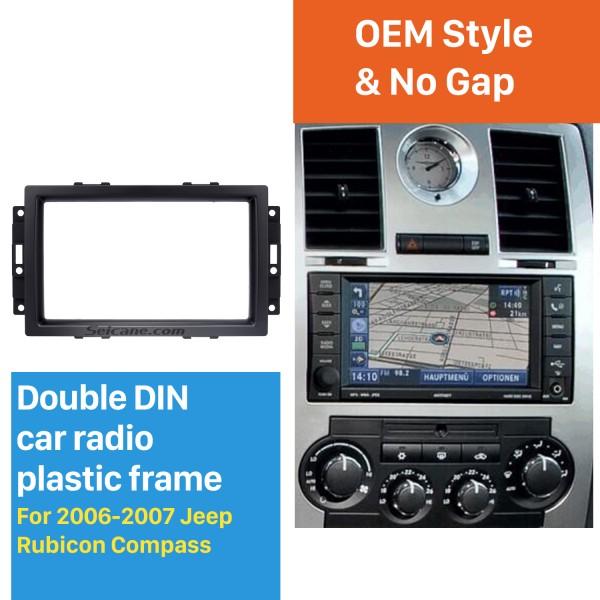 Elegant 2Din Car Radio Fascia for 2006 2007 Jeep Rubicon Compass Audio Fitting DVD Frame GPS In Dash Mount Kit