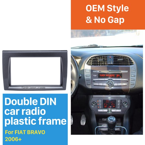 Refined Double Din Car Radio Fascia for 2006+ FIAT BRAVO Audio Frame Cover In Dash Mount Kit Panel Plate
