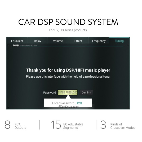 DSP car audio sound system for H2 H3 series car stereos with 8 RCA outputs real 15 EQ adjustable segments 3 kinds of crossover mode