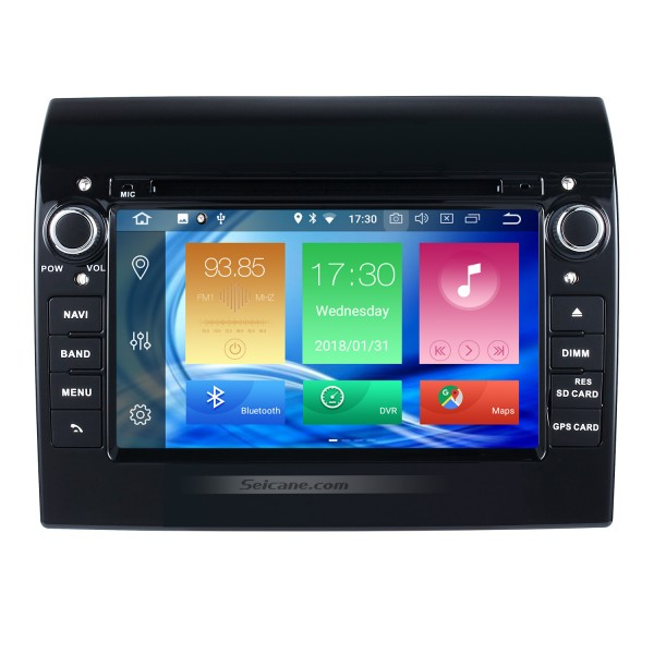 Aftermarket 7 inch Android 8.0 2007-2016 Fiat Ducato Radio DVD Player GPS Navigation System with Bluetooth 3G Wifi Mirror Link Steering Wheel Control Backup Camera DVR OBD2 DAB+