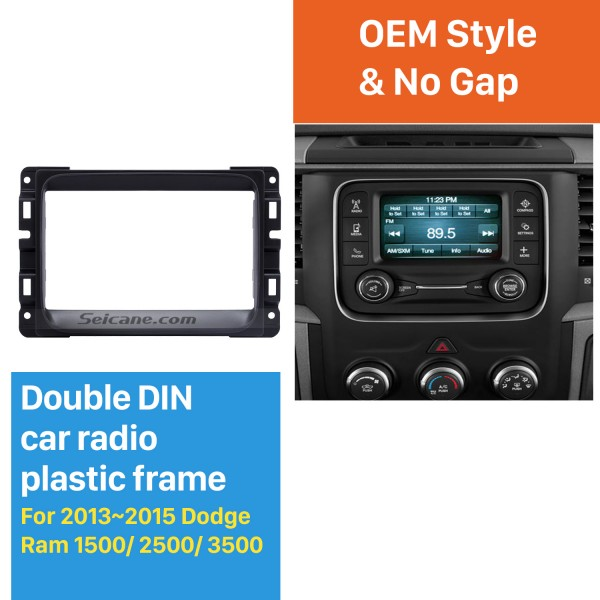 Black Double Din Car Radio Fascia for 2013 2014 2015 Dodge Ram 1500 2500 3500 Stereo Dash Install Frame DVD Player Panel Plate