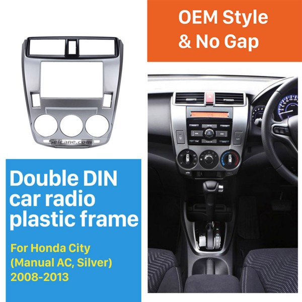 Double Din 2008-2013 Honda City Ballade Manual AC Car Radio Fascia Panel Plate CD Trim Panel Stereo Dash Kit Installation frame
