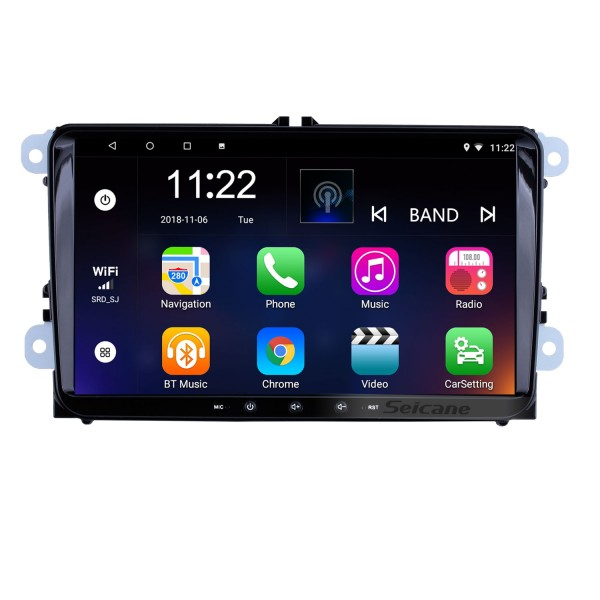 9 inch Android 8.1 HD 1024*600 Touch Screen Radio for VW Volkswagen Universal SKODA Seat with GPS Navigation WIFI Bluetooth Music Mirror Link Steering Wheel Control 1080P Video