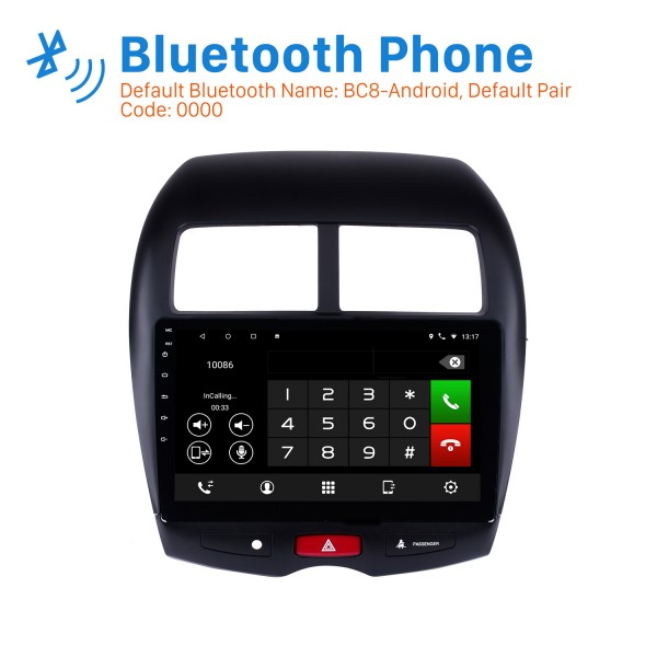 Android 8.1 GPS Radio 10.1 Inch HD Touchscreen Head Unit For 2010 2011 2012 2013 2014 2015 Mitsubishi ASX Peugeot 4008 Bluetooth Music WIFI Support Rearview Camera Steering Wheel Control