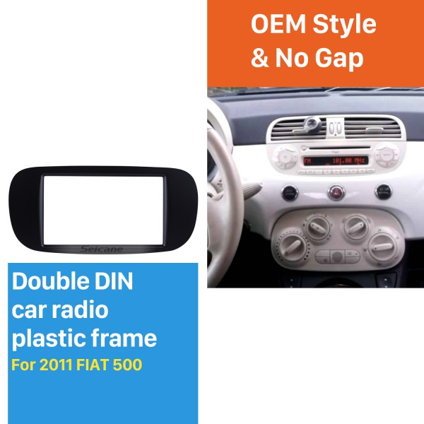 Black Double Din Car Radio Fascia for 2011 FIAT 500 CD Trim Audio Frame Player Face Plate Panel