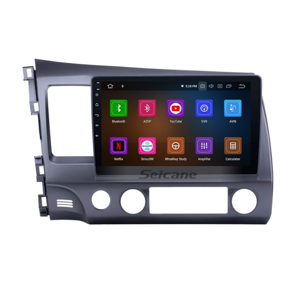 10.1 Inch 1024*600 Touchscreen Android 9.0 2006-2011 Honda civic Radio GPS Navigation System with Bluetooth 4G WIFI Steering Wheel Control Digital TV Mirror Link OBD2 DVR Backup Camera TPMS