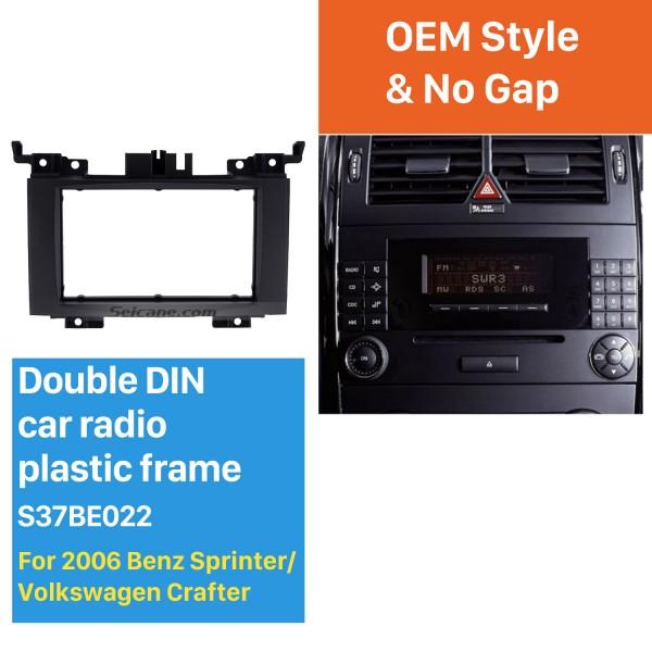 Black 2 Din 2006 Benz Sprinter/ Volkswagen Crafter Car Radio Fascia DVD Panel Installation Trim Dash Kit Audio Cover Frame