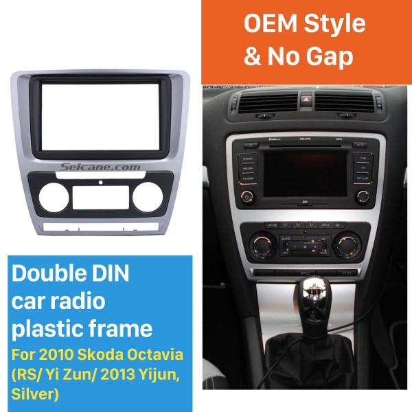 Silver Double Din Car Radio Fascia for 2010 Skoda Octavia In Dash DVD Player Outter Frame Surround Panel