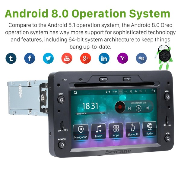 Android 8.0 HD Touchscreen Aftermarket Radio DVD Player For 2005-2013 Alfa Romeo 159 Car Stereo GPS Navigation System Bluetooth Phone WIFI Support 1080P Video OBDII DVR Steering Wheel Control