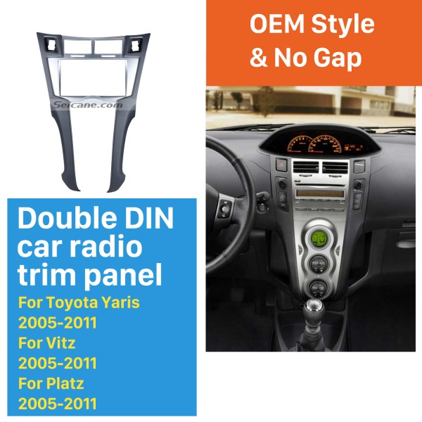 Silver Double Din 2005-2011 Toyota Yaris Vitz Platz Car Radio Fascia CD Trim Installation Trim Bezel Audio frame