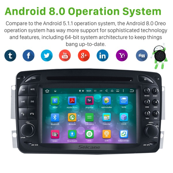 1998-2004 Mercedes-Benz CLK-C209 Radio DVD Player Android 5.1.1 GPS Navigation system Touch Screen TV IPOD Rearview Camera steering wheel control USB SD Bluetooth WiFi HD 1080P Video