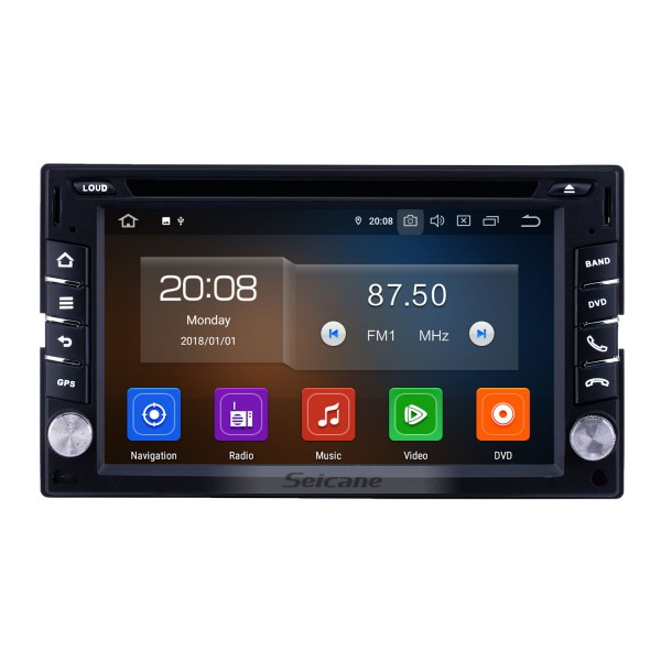6.2 inch GPS Navigation Universal Radio Android 9.0 Bluetooth HD Touchscreen AUX Carplay Music support 1080P Digital TV Rearview camera