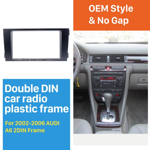 Black Double Din 2002-2006 Audi A6 Car Radio Fascia Panel Adaptor DVD Frame Dash Installation Kit