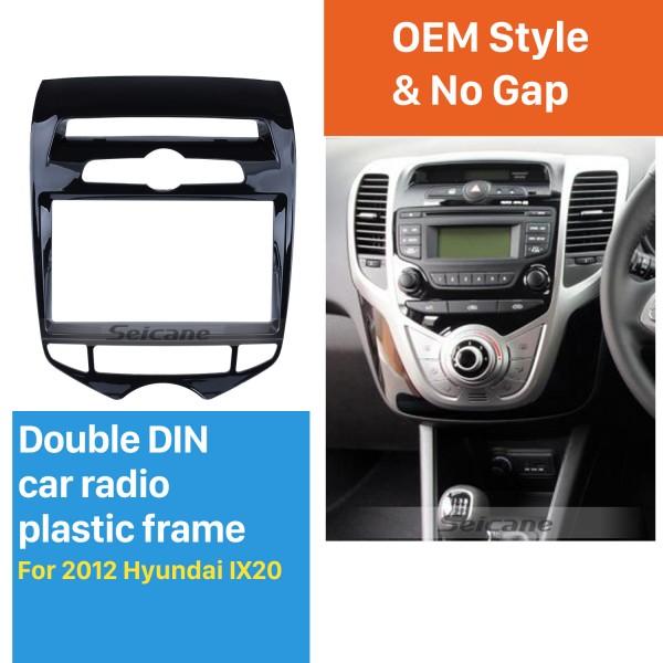 UV Black 2 Din 2012 Hyundai IX20 with Auto AC Car Radio Fascia Refitting Frame Kit Auto Stereo Interface Adapter