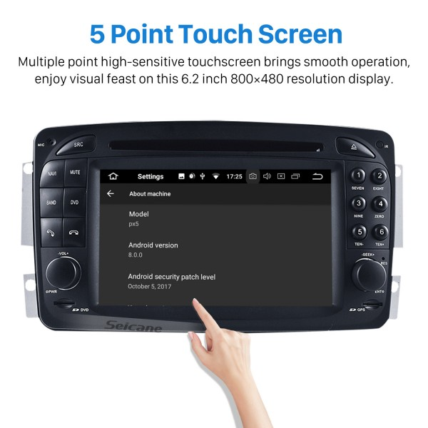 Android 8.0 GPS Navigation system for 1998-2004 Mercedes-Benz G-W463 G550 G500 G400 G320 G270 G55 with Radio DVD Player Touch Screen Bluetooth WiFi TV Backup Camera steering wheel control USB SD HD 1080P Video