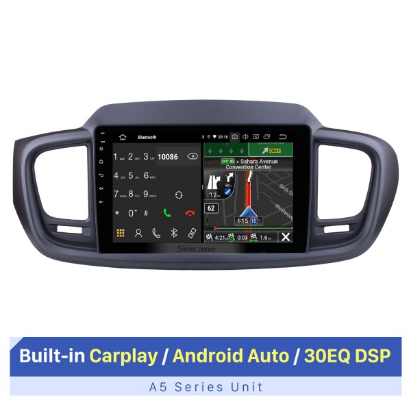 9 inch For 2015 2016 Kia Sorento Android 10.0 Radio bluetooth GPS Navigation System with Backup Camera TPMS Steering Wheel Control OBD2 DVR Rearview camera digital TV
