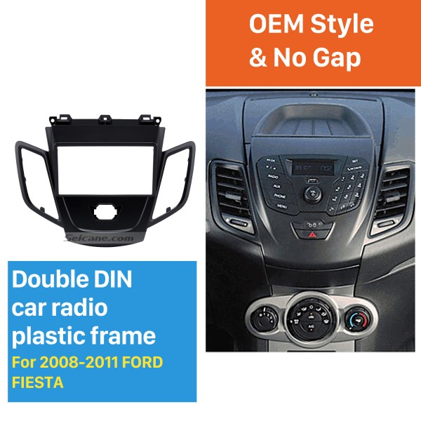 Black 2Din Car Radio Fascia for 2008-2011 Ford Fiesta Auto Stereo Installation Car Styling Panel Frame