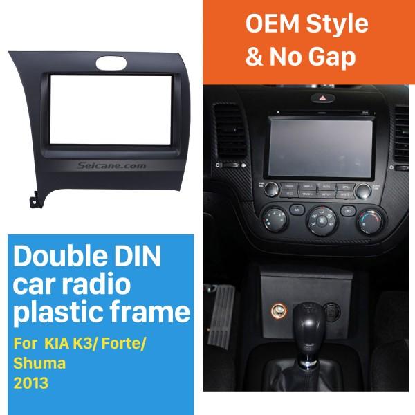 New Double Din 2013 KIA K3 Forte Shuma Left Hand Drive Car Radio Fascia Dash Trim Kits DVD Frame Dashboard Panel