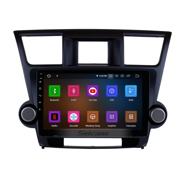 10.2 Inch 2009-2015 Toyota Highlander Android 4.4 Capacitive Touch Screen Radio GPS Navigation system with Bluetooth TPMS DVR OBD II Rear camera AUX USB SD 3G WiFi Steering Wheel Control Video