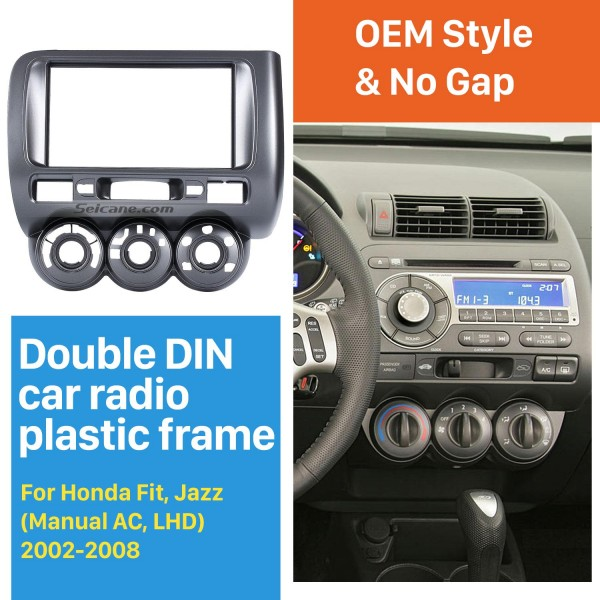 Remarkable Double Din 2002-2008 Honda Jazz Manual AC LHD Car Radio Fascia Dash Kit Panel Plate Frame CD Trim